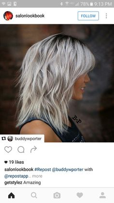 modern shag haircut with layers and ice blonde hair color Medium Length Hair With Layers, Medium Hair Cuts, Short Hair Cuts, Medium Hair Styles, Short Hair Styles, Shoulder Length Hair Cuts With Layers, Layered Haircuts Shoulder Length, Blonde Layered Hair, Ice Blonde Hair