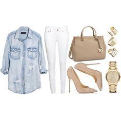 """""""Mais um look inspiração pra hoje: calça branca, camisa jeans e escarpins. Gostam?"""""""