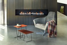 Tango tables and Paloma chair | fire place | Schiavello.
