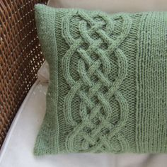 Celtic Knot cable hand knit pillow - St Patrick's Day, Irish heritage or just because you love green?   Knitting pattern available or contact me for custom order
