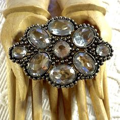 "Vintage 1940's Large Pashmina Brooch Large 3"" x 2"" silver tone 1940's brooch with oval clear cut crystals. This is a family piece, loved, well cared for, and is in excellent condition. The pin is strong and is awesome for holding silk pashmina scarves! Vintage Jewelry Brooches"