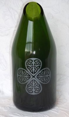 Recycled (upcycled?) wine bottle.  Just in time for St. Patrick's Day!  By Groovy Green Glass on etsy.