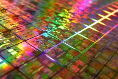 Closeup of microchips.