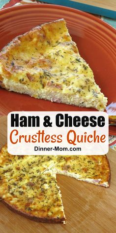 Enjoy Ham and Cheese Crustless Quiche for a healthy breakfast lunch or dinner! Easy recipe that is freezes BEFORE you bake it! Enjoy Ham and Cheese Crustless Quiche for a healthy breakfast lunch or dinner! Easy recipe that is freezes BEFORE you bake it! Ham Quiche, Ham And Cheese Quiche, Quiche Recipes, Ham Recipes, Easter Recipes, Free Recipes, Low Carb Dinner Recipes, Breakfast Recipes, Dinner Healthy