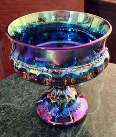 Vintage Indiana blue purple iridescent carnival glass Kings crown pedestal footed compote candy nut dish bowl christmas best offer free ship on Etsy, $29.00