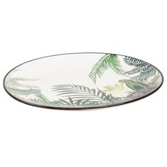 Earthenware Dish with Tropical Motif