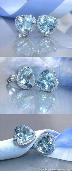 Pretty Aquamarine Heart Studs with Diamonds - 6.28 c. - Whitegold 14k   schmucktraeume.com   Facebook: https://www.facebook.com/Noble-Juwelen-150871984924926/