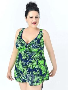 Green High Waist Leaf Printed Sexy Halter One Piece Plus Size Swimsuit With Little Skirt Lidyy1605241081
