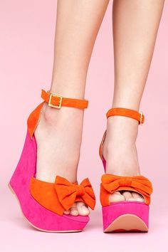 Dee Platform Wedge: I want all my accessories to be neon this spring and everything I buy to be colorblock. Thanks, universe, in advance for making this happen.