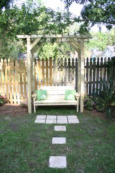 DIY Plans For Building An Arbor And Bench! Arbor Swing, Deck Landscaping,  Outdoor