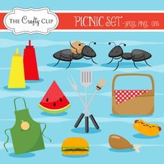 Picnic - adorable collection of picnic and bbq graphics.  Perfect for invitations, stationery, and crafts.