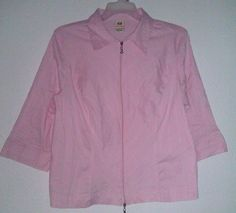 $5.99  FADED GLORY WOMEN'S PLUS STRETCH PINK BLOUSE/SHIRT SIZE 18W/20W ~ ZIPPER CLOSURE