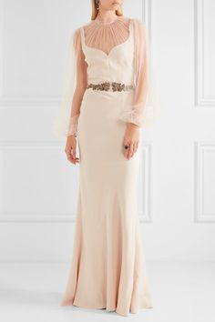Alexander McQueen - Embellished Silk-cady And Tulle Gown - Pastel pink - IT44