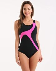Maru Strike Pacer Hydro Back - Black and Pink The Maru Stroke Pacer Hydro Back ladies swimsuit has a sporty look for ladies fitness swimming or aqua aerobic classes to maximise confidence with great coverage and total chlorine resistance http://www.MightGet.com/january-2017-13/maru-strike-pacer-hydro-back--black-and-pink.asp