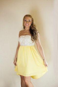 Yellow  White Laser Dress