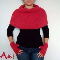 Shoulder Heater Explanations and Diagram Evolution T Shirt, Crochet Poncho, Knitted Bags, Knitwear, Pullover, Knitting Patterns, How To Wear, Clothes, Officiel