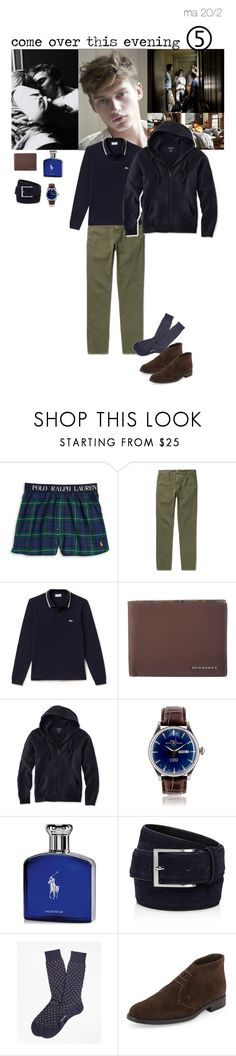 """""""come over this evening"""" by adelaidesmitha ❤ liked on Polyvore featuring INDIE HAIR, Polo Ralph Lauren, Incotex, Lacoste, Burberry, L.L.Bean, Ralph Lauren, To Boot New York, Brooks Brothers and Tod's"""