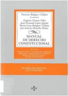 Balaguer Callejón, Francisco : Manual de derecho constitucional. -   Madrid : Tecnos, 2017