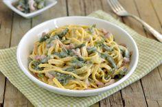 Tagliatelle+cremose+con+fagiolini+e+pancetta