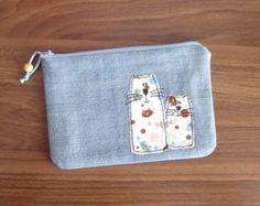 Small Zipper Pouch, Pencil Case, Blue Denim Purse, Makeup Bag,Cat appliqué, Back to school