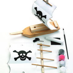 Creativity for Kids Rainy Day Crafts, Crafts For Kids, Pirate Ship Painting, Pirate Party Favors, Kid Friendly Art, Pirate Crafts, Mini Craft, Non Toxic Paint, Paint Drying