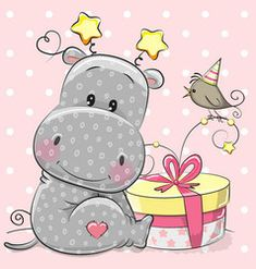 Greeting card cute hippo with gift Royalty Free Vector Image Environmental Crafts, Baby Elephant Drawing, Cute Hippo, Diamond Picture, Gift Vector, Blue Nose Friends, 5d Diamond Painting, Disney Tattoos, Small Paintings