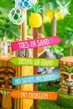 A handmade dollhouse miniature tiki bar with tropical drinks, tiki signs and more. Aloha Party, Tiki Party, Luau Party, Tiki Bar Signs, Tiki Bar Decor, Tiki Bar Stools, Party Sandwiches, Pool Bar, Outdoor Tiki Bar
