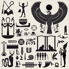 Simboli Egiziani antichi e signs.collection di sagome diverse