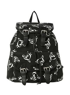 Music Clef Heart Slouch Backpack   Hot Topic