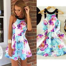 Sexy Womens Sleeveless Summer Floral Beach Party Evening Cocktail Mini Dress S #dresses #fashion #style #women #trend