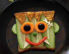 Frankenstein Sandwich from 13 Horrifying + Healthy Halloween Recipes via Brit + Co. Halloween Snacks For Kids, Healthy Halloween Treats, Halloween Cupcakes, Halloween Recipe, Halloween Ideas, Spooky Treats, Halloween Party, Halloween Stuff, Zombie Party