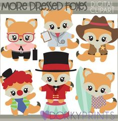 Fox Clipart Set -Personal and Limited Commercial Use- doctor fox, circus fox, cowboy fox, fox clip art Simple Collage, Christmas Stencils, Image Paper, Pet Fox, Doodle Designs, Animals For Kids, Embroidery Applique, Doodle Art, Art Images