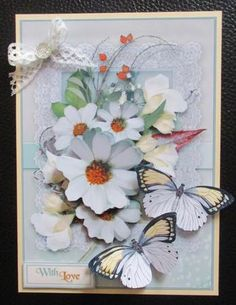 Fleeting Memories 8 - made by Davina Rundle Lace Bows, Butterflies, Centre, Decoupage, Card Making, Glitter, Drop, Touch, Memories