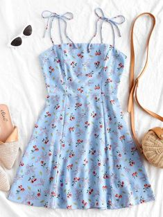 Cute Blue Floral Tie Strap Flare Mini Summer Dress With Self-Tie Skinny Straps. This cute summer mini length dress in a trendy blue floral print emphasizes self-tie skinny straps and a flared silhouette. Girls Fashion Clothes, Teen Fashion Outfits, Mode Outfits, Girly Outfits, Cute Casual Outfits, Pretty Outfits, Stylish Outfits, Girl Fashion, Trendy Fashion