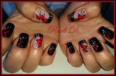 Bluesky gel polish 518, Bluesky UV&LED paint 03- red http://radi-d.blogspot.com/2015/05/two-colours-one-design.html