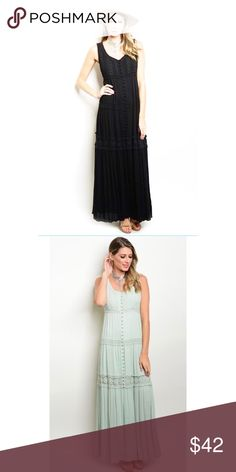 Black Boho Maxi with Crochet Knit Tiers Dress Black Boho Maxi with Crochet Knit Tiers And Button Details Down the Front Dress. 100% Rayon. Second picture is just to show more detail. The dress is BLACK. No Trades. Price is Firm Unless Bundled. GlamVault Dresses Maxi