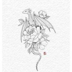Dragon Tattoo With Flowers, Cute Dragon Tattoo, Dragon Tattoo Drawing, Small Dragon Tattoos, Dragon Tattoo For Women, Dragon Tattoo Designs, Small Tattoos, Dream Tattoos, Time Tattoos