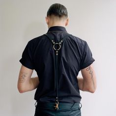 Leather O-ring suspenders. Lol I can find two uses for these. Mode Style, Style Me, Leather Suspenders, Sharp Dressed Man, Mens Fashion, Fashion Outfits, Looks Cool, Mannequins, Men Dress