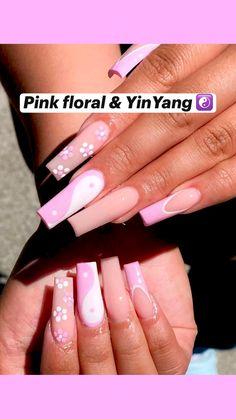 Classy Acrylic Nails, Acrylic Nails Coffin Pink, Square Acrylic Nails, Pink Nails, Wow Nails, Impress Nails, Drip Nails, Stylish Nails, Nails Inspiration