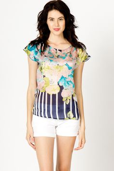 Silk Stripes and Flowers Blouse from A-Thread - $68.00