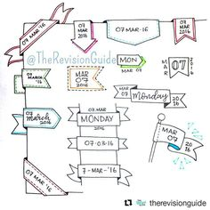 """979 Likes, 5 Comments - Apsi's visual notes & doodles (@therevisionguide) on Instagram: """"Repost for #TheRevisionGuide_52wvv #52wvv_week10 ・・・ Ideas for banner dates..…"""""""