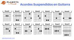 Listado de acordes suspendidos en guitarra. Sus2 y Sus4. Cómo se ponen los acordes sus pendidos en la guitarra.