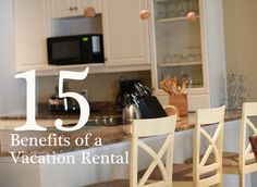 15 Benefits of a Vacation Rental   Growing up, we often took long road trips as a family of 7, so vacation rentals were ideal.  For our family of 4, we already take advantage of cabin rentals for long vacations so we can cook our own food (esp with my food allergies) and have separate rooms for us and the kids.