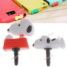 2pcs 3D Snoopy Style 3.5mm Earphones Anti-Dust Plug Stopper Headset Hole Pin Stopper for Phone iPhone - Color Assorted MTH-74204