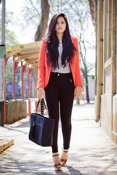 Spring/Summer | Outfit| Orange blazer| www.styldrv.com