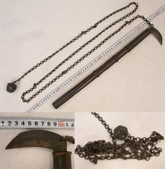 Antique Japanese kusarigama. sickle blade, with attached chain and ball.