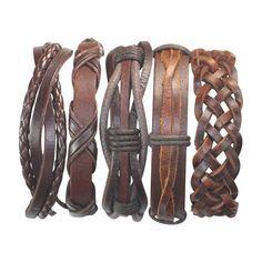 5 stuk handgemaakte lederen armband Set Mens door BraceletStreetUSA