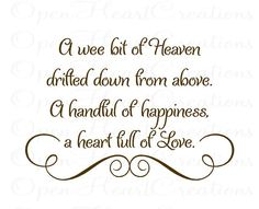 a wee bit of heaven drifted down from above baby nursery wall decal vinyl wall quote saying lettering girl boy 22h x 32w ba0014 4500 via etsy