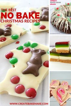 This BEST No Bake Christmas Recipes Create Bake Make is a good for our Lunch made with awesome ingredients! Dairy, gluten, g. Christmas Goodies, Christmas Desserts, Christmas Treats, Christmas Recipes, Christmas Bark, Christmas 2016, Mint Cheesecake, Cheesecake Recipes, Dessert Recipes