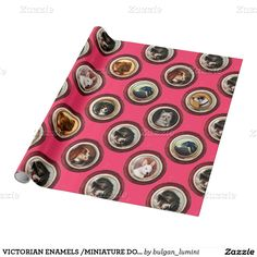 VICTORIAN ENAMELS /MINIATURE DOG PORTRAITS,Pink Wrapping Paper